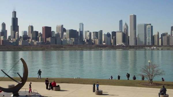 view of chicago skyline from museum campus
